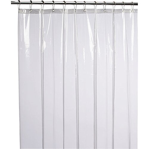 """82/"""" W x 74/"""" H White Extra Wide PEVA Shower Liner for Curved Shower Rods"""