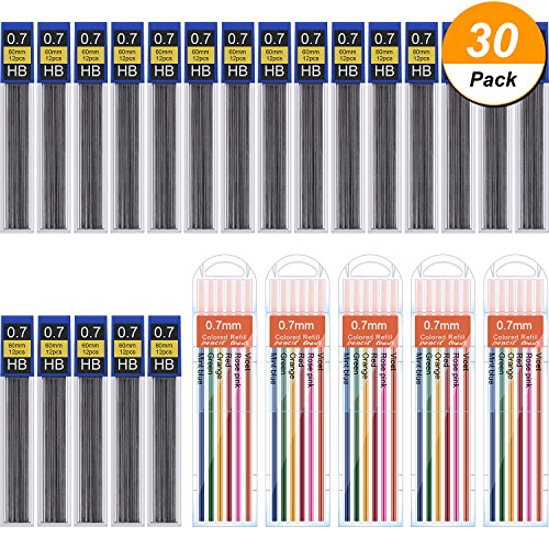 Hestya 360 Pieces Lead Refills Mechanical Pencil 0 7 Mm Hb Includes Colored Leads And Black With Convenient Dispensers